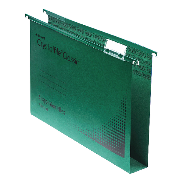 Rexel Crystalfile Extra Green 30mm Lateral File Pack of 25 70640