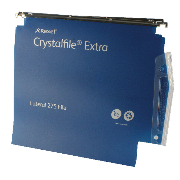 Rexel Crystalfile Extra Blue 30mm Lateral File Pack of 25 70642