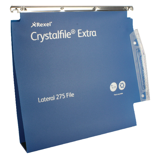 Rexel Crystalfile Extra Blue 50mm Lateral File Pack of 25 71765