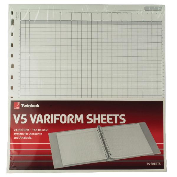 Rexel Variform V5 10 Column Cash Refill Pack of 75 75964