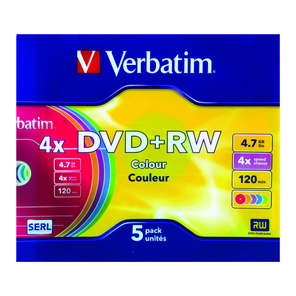 Verbatim DVD+RW 4x 4.7GB Non-Printable Colours Slim Case (Pack of 5) 43297