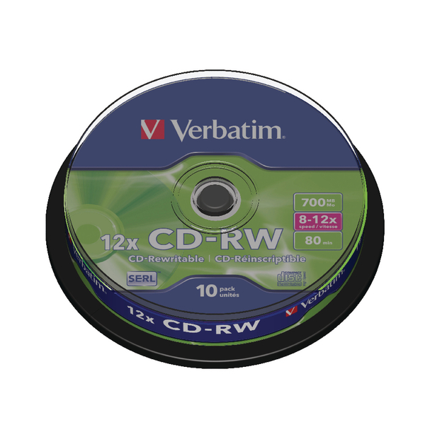 Verbatim CD-RW Datalife Plus 80minutes 8-12X Hi-Speed Spindle (Pack of 10) 43480