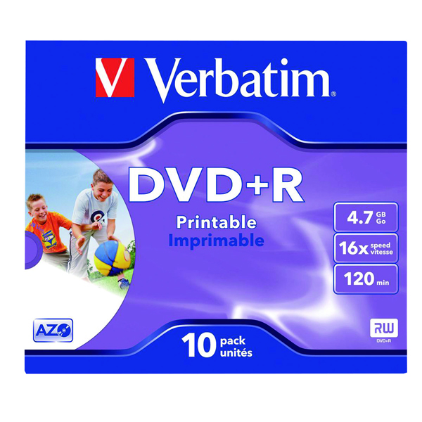Verbatim DVD+R 16x 4.7GB Inkjet Printable (Pack of 10) 43508