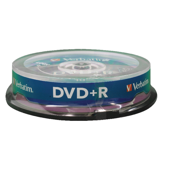 Verbatim DVD+R 16x 4.7GB Non-Printable Spindle (Pack of 10) 43498