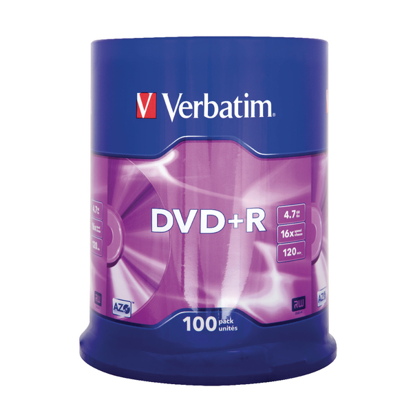 Verbatim 4.7GB 16x Speed DVD+R Spindle (Pack of 100) 43519