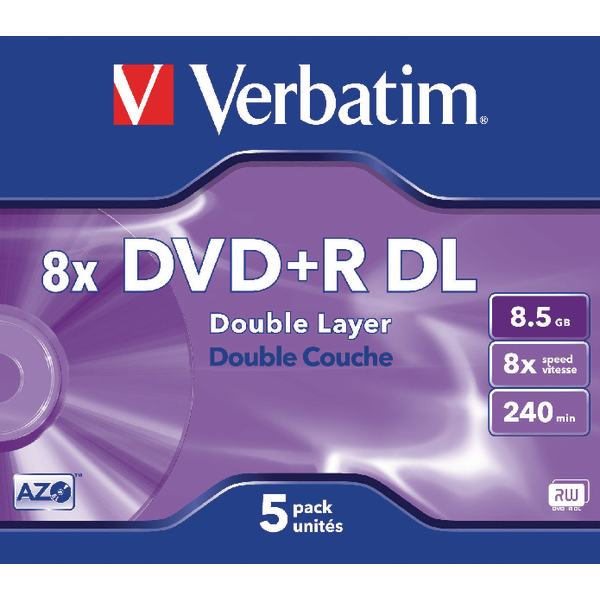 Verbatim 4.7GB 16x Speed Jewel Case DVD+R (Pack of 5) 43497
