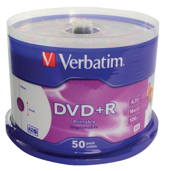Verbatim 4.7GB 2x Speed DVD+R (Pack of 50) 43234