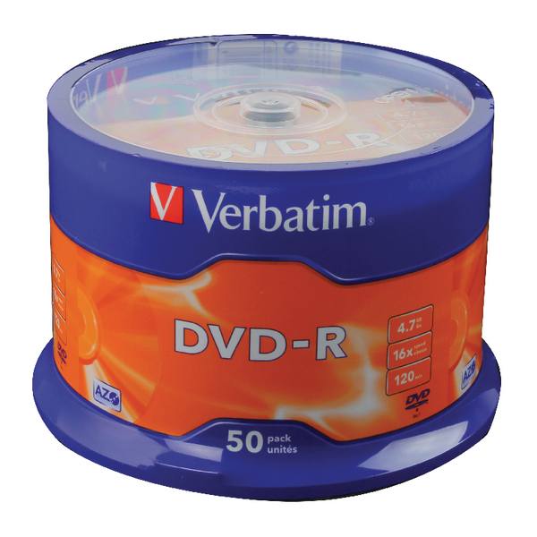 Verbatim 4.7GB 16x Speed Spindle DVD-R 120 Min (Pack of 50) 43500