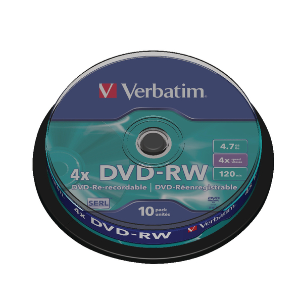 Verbatim DVD-RW Discs 4X 4.7GB (Spindle of 10) 43552
