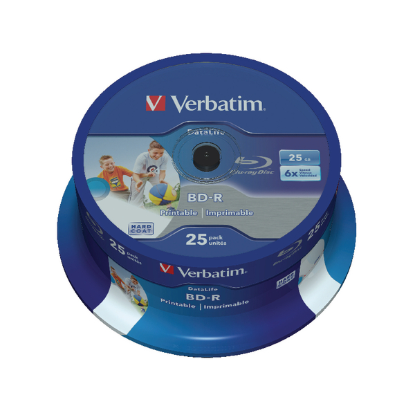 Verbatim Blu-ray BD-R 25 GB 6x Printable Spindle (Pack of 25) 43811