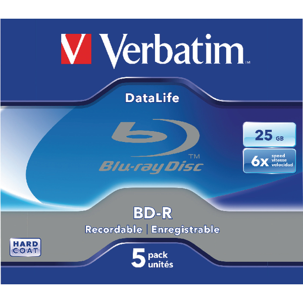 Verbatim Blu-ray BD-R 25GB 6x Jewel Case (Pack of 5) 43836