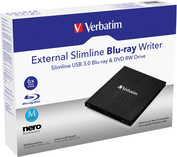 Verbatim Black Mobile Blu-ray Rewriter USB 3.0 43890
