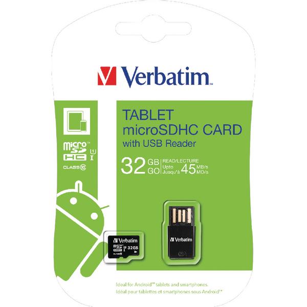Verbatim Tablet micro SDHC Card with USB Reader 32GB 44059