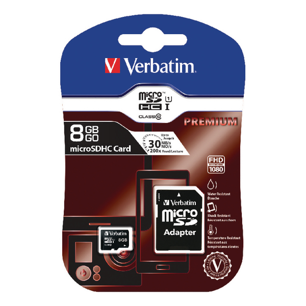Verbatim Micro SDHC Class 10 8GB Memory Card With Adaptor 44081