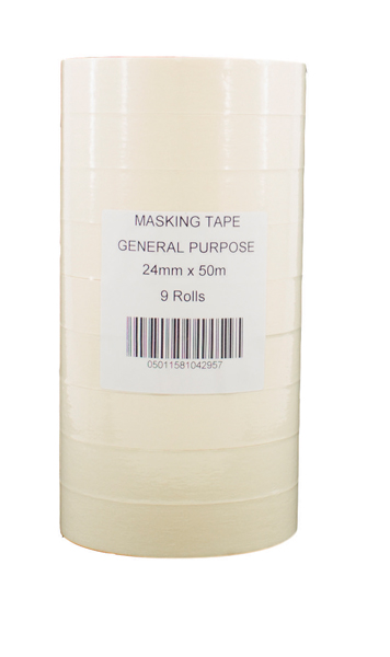 General Purpose 25mmx50m White Masking Tape (Pack of 9) 07517