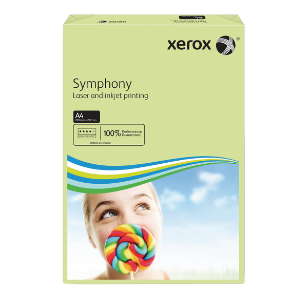 Xerox Symphony Pastel Tints Green Ream A4 Paper 80gsm 003R93965 (Pack of 500)