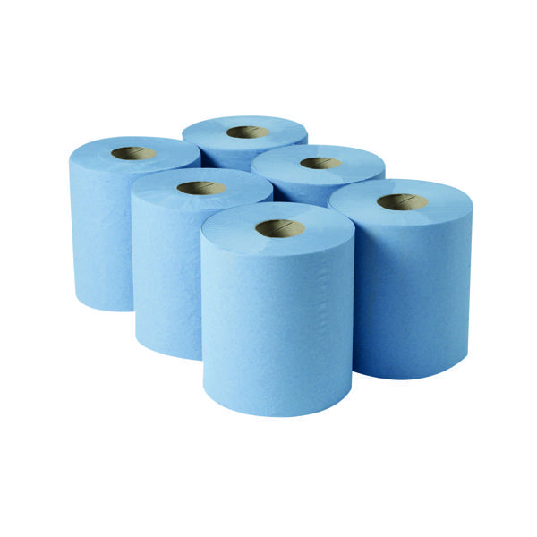 Hand Towels & Dispensers 2Work 3-Ply Centrefeed Roll 135m Blue (6 Pack) 2W00083