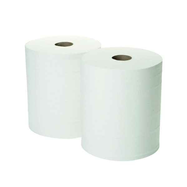 2Work 2-Ply Forecourt Roll 260m White (2 Pack) 1WH101
