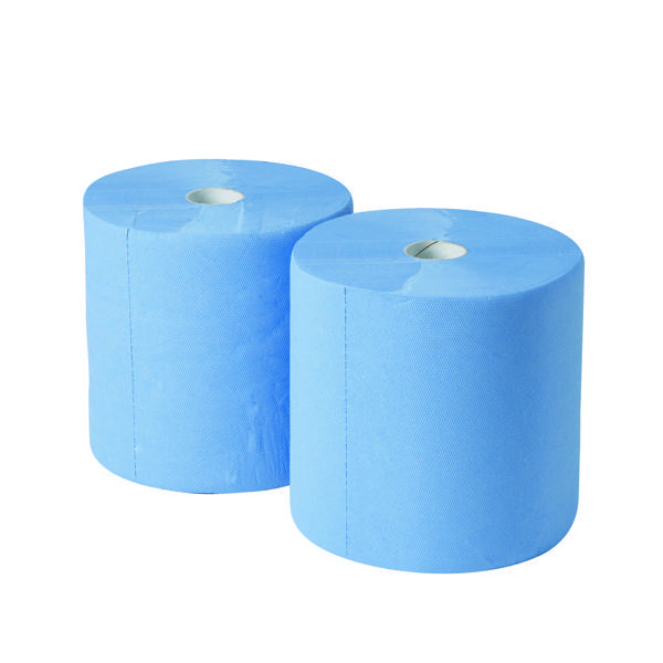2Work 3-Ply Industrial Roll 170m Blue (2 Pack) GEM503B