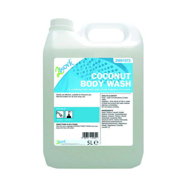 Hand Soaps & Dispensers 2Work Coconut Body Wash 5 Litre 2W01072