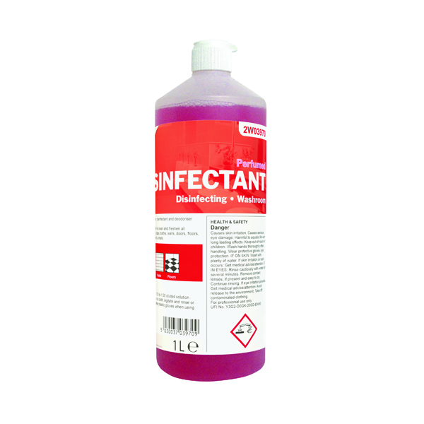 Cleaning Chemicals 2Work Disinfectant and Washroom Cleaner Perfumed 1 Litre 2W03970