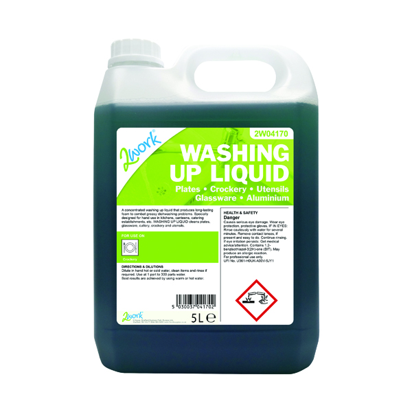 Cleaning Chemicals 2Work Washing Up Liquid 5 Litre 2W04170