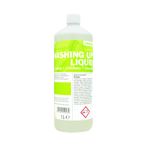 Cleaning Chemicals 2Work Washing Up Liquid Lemon 1 Litre 2W04589