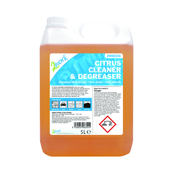 Cleaning Chemicals 2Work Citrus Cleaner and Degreaser 5 Litre 2W06354