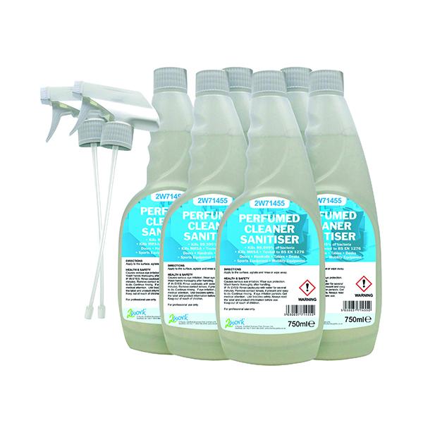 Cleaning Chemicals 2Work Perfumed Spray Wipe Sanitiser 750ml (6 Pack) 211SVW
