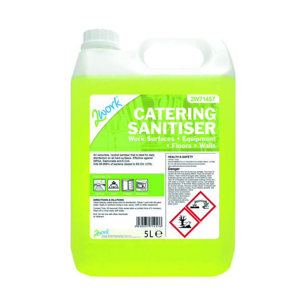 Cleaning Chemicals 2Work Odourless Catering Sanitiser 5 Litre 2W71457