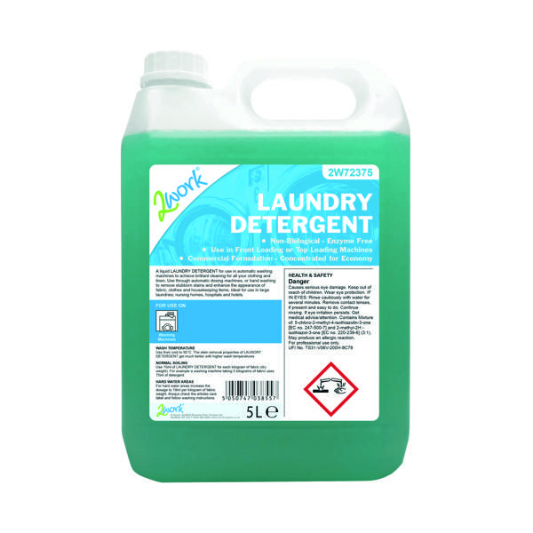 Cleaning Chemicals 2Work Liquid Laundry Detergent 5 Litre 2W72375