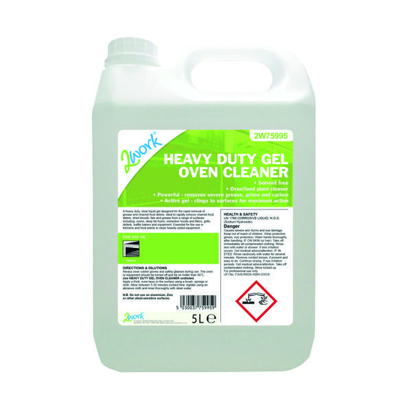 Cleaning Chemicals 2Work Heavy Duty Gel Oven Cleaner 5 Litre 304