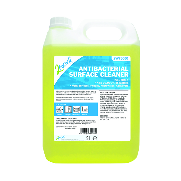 Cleaning Chemicals 2Work Antibacterial Surface Cleaner 5 Litre 242