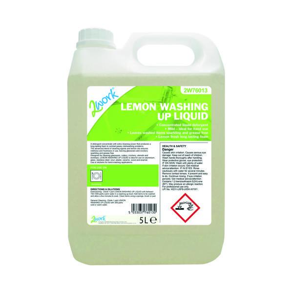 2Work Washing Up Liquid Lemon 5 Litre 401