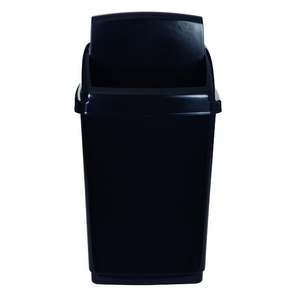 Rubbish Bins 2Work Swing Top Bin 50 Litre Black RB02381