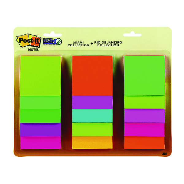 Super Sticky Post-it Super Sticky 76x76mm Rio and Miami Collection (15 Pack) 654-15AAMULTI2