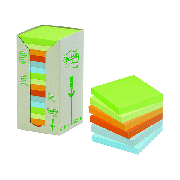 Post-it Notes Recycled Tower Pack 76 x 76mm Pastel Rainbow (16 Pack) 654-1RPT