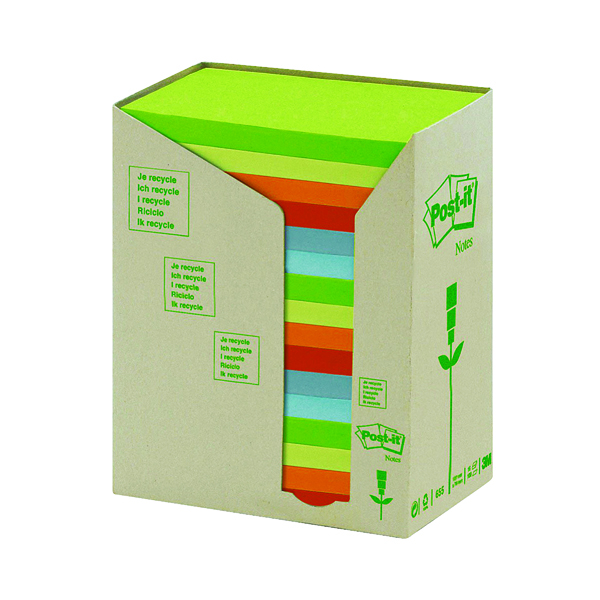 Post-it Notes Recycled Tower Pack 76 x 127mm Pastel Rainbow (16 Pack) 655-1RPT