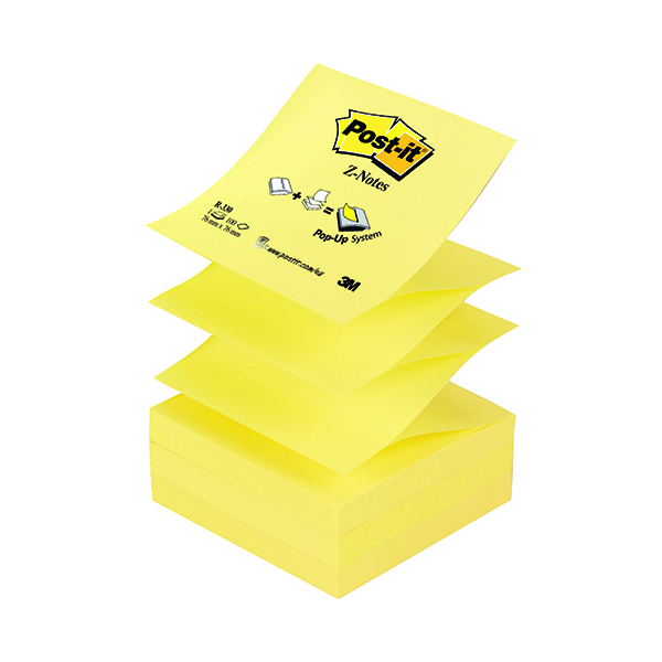 Z Notes Post-it Z-Notes 76 x 76mm Canary Yellow (12 Pack) R330
