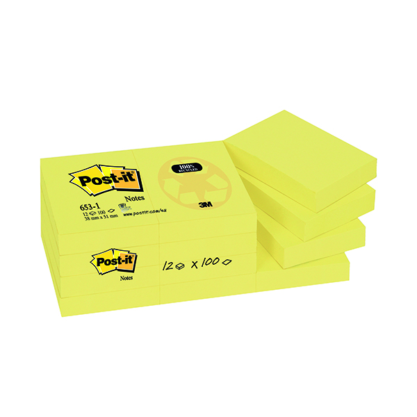 Post-it Notes Recycled 38 x 51mm Canary Yellow (12 Pack) 653-1