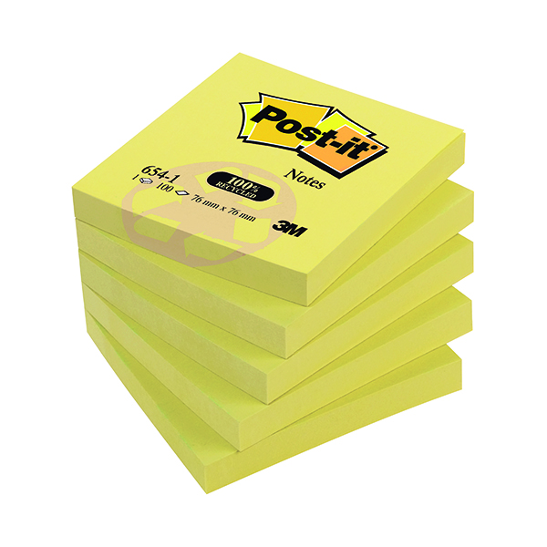 Post-it Notes Recycled 76 x 76mm Canary Yellow (12 Pack) 654-1Y