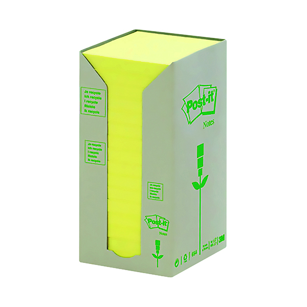 Recycled Post-it Notes Recycled Tower Pack 76 x 76mm Canary Yellow (16 Pack) 654-1T