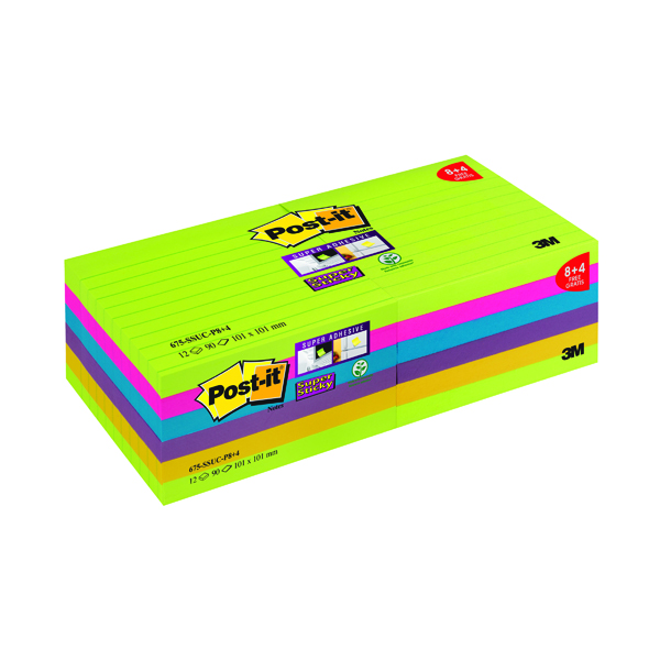 Post-it Notes Super Sticky XL 101 x 101mm Ultra Colours (12 Pack) 675-SSUC-P8+4