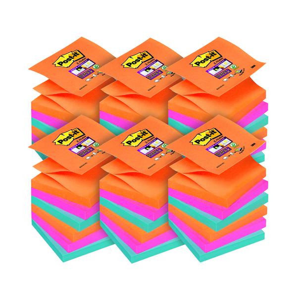Super Sticky Post-it Super Sticky Z-Notes 76 x 76mm Bangkok (6 Pack) 70-0051-9785-3