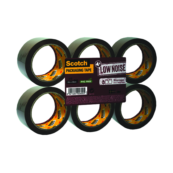 36/50mm Scotch Packaging Tape Low Noise 48mmx66m Brown (6 Pack) 3120B4866