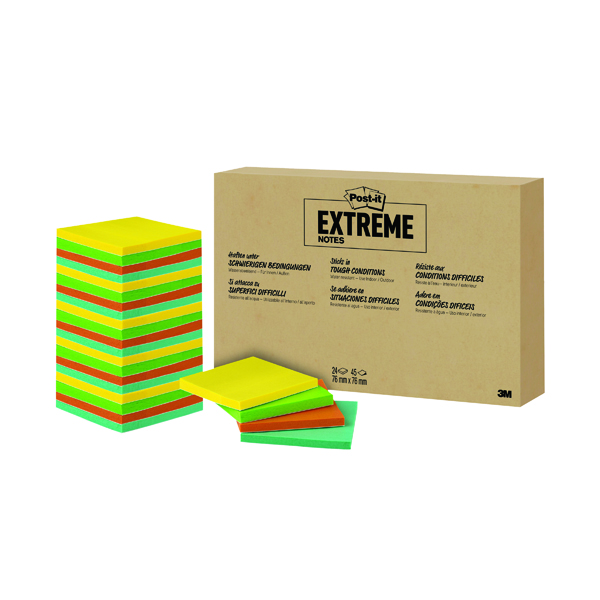 Colour Standard Sizes Post-it Notes Extreme 76 x 76mm Assorted (24 Pack) EXT33M-24-EU1