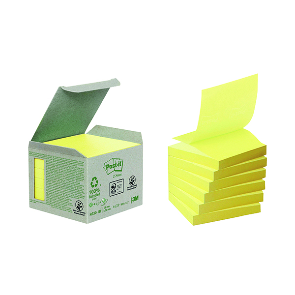 Post-it Recycled Z-Notes 76 x 76mm Canary Yellow (6 Pack) R330-1B