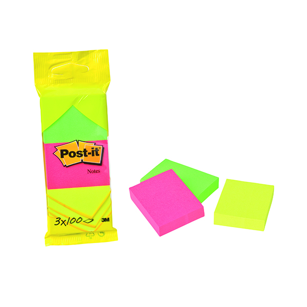 Colour Standard Sizes Post-it Neon Colour Notes 38x51mm 100 Sheet Pads Assorted (36 Pack) 6812