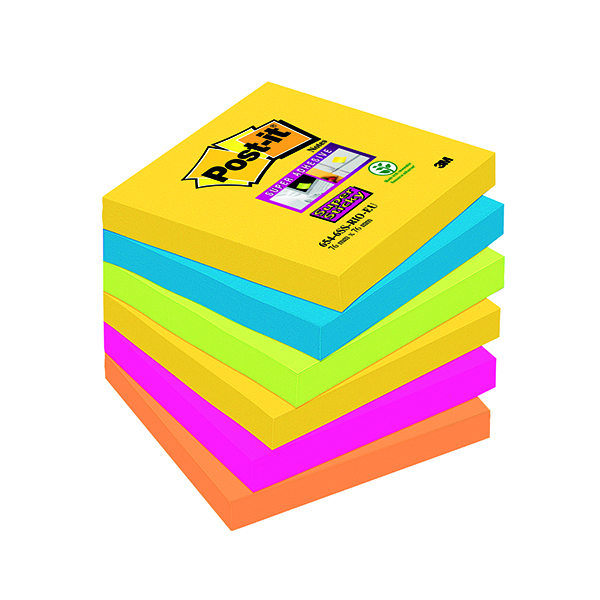 Super Sticky Post-it Super Sticky Notes 76x76mm Rio (6 Pack) 654-6SS-RIO-EU