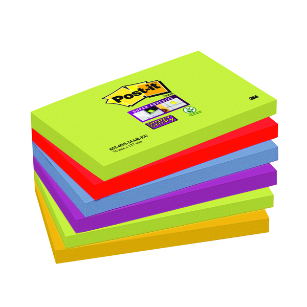 Post-it Notes Super Sticky 76 x 127mm Marrakesh (6 Pack) 654-6SS-MAR-EU